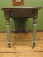 Antique Writing Table with Painted Duck Egg Base & Drawer (14 of 16)