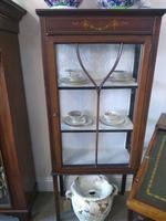 Pair of Edwardian Glazed Mahogany Display Cabinet with 2 Shelves (4 of 8)