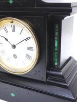 Amazing French Slate Mantel Clock Timepiece Mantle Clock with Machilite Inlay (7 of 11)