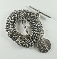Beautiful Solid Silver Henry Allday Double Link Albert Chain & T BAR (9 of 12)
