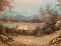 Large Fabulous 20th Century Vintage British Autumn Country Landscape Oil Painting (6 of 12)