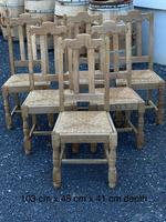 Set of 6 French Bleached Oak Farmhouse Dining Chairs (2 of 13)