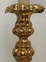 Pair of Decorative French 19th Century Gilded Hallmarked Cartouche Scroll Candlesticks (7 of 40)