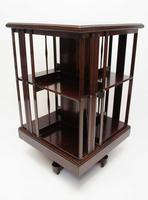 Good quality,  Edwardian inlaid Walnut 2 tier revolving bookcase (8 of 21)
