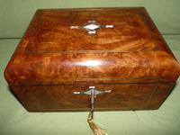 Quality Inlaid Burr Walnut Jewellery Box + Tray. c1875. (12 of 12)