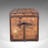 Large Antique Steamer Trunk, English, Pine, Travel, Shipping Chest, Victorian (5 of 12)