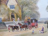 Large oil on canvas Old fashioned  view  Listed artist Richard Temple (6 of 10)