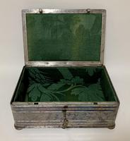 Rare Antique Victorian Etched Steel Strongbox Safe with Key (10 of 14)