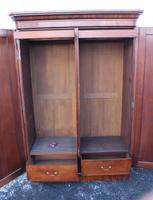 1900s Handsome 2 Door Mahogany Wardrobe All Hanging Drawers at Base (4 of 4)