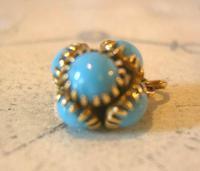 Georgian Pocket Watch Chain Fob 1830s Golden Gilt & Turquoise Dainty Ball Fob (4 of 7)