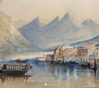 Large Lake in Italy - Beautiful 1930s Watercolour Landscape Painting (6 of 9)