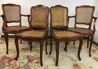 Vintage French Set of 6 Cherrywood Bergère Cane Dining Chairs with Carvers (11 of 14)