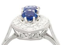 1.60ct Sapphire & 1.05ct Diamond, 18ct White Gold Cluster Ring - Vintage French c.1970 (9 of 9)
