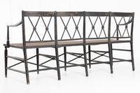 English 19th Century Regency Ebonised Cane Seat Sofa (4 of 8)