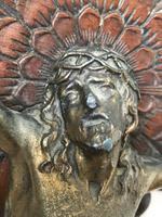 Antique Victorian Carved Gilt Silver Religious Crucifix Jesus Christ Lord Wall Plaque (3 of 11)