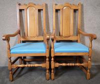 Pair of Oak Reproduction High Back Armchairs (10 of 11)
