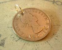 Vintage Pocket Watch Chain Fob 1964 Lucky Silver One Shilling old 5d Coin Fob (5 of 6)