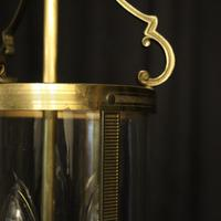 French Convex Gilded Triple Light Hall Antique Lantern (6 of 10)