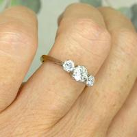 Vintage Art Deco 18ct Platinum Diamond Trilogy Engagement Ring 0.70ct c.1930 (2 of 9)