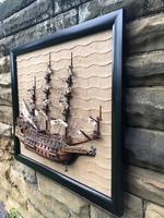 Unusual Half Block Model of Galleon in Ebonised Frame (9 of 9)