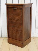 Oak Tambour Front Filing Bedside Cabinet (4 of 7)