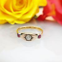 Antique Victorian 22ct 9ct Gold Old Mine Cut Diamond & Ruby Trilogy Ring | Three Stone Ring (5 of 10)