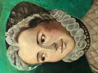 Large Oil Painting English Portrait Of Aristocratic Tudor Lady Wearing Fine Elizabethan Dress (4 of 24)