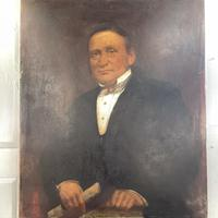 Large Antique Victorian Oil Painting Portrait of Gentleman in Formal Attire (3 of 10)