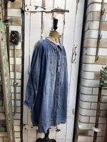 Antique French Faded Blue Linen Biaude Shirt Chemise Smock Size L (9 of 10)