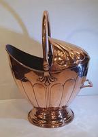 19th Century Polished Copper Helmet Coal Scuttle