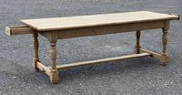 Large French Bleached Oak Farmhouse Table with Extensions (20 of 26)
