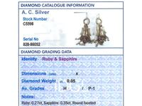 0.35ct Sapphire & 0.27ct Ruby, 14ct Yellow Gold Earrings - Antique 1880s (8 of 9)