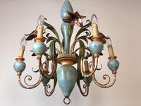 Large Vintage French 6 Arm Polychrome Toleware Ceiling Light Chandelier (7 of 16)