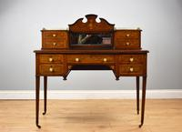 Edwardian Mahogany & Marquetry Writing Table by Jas Shoolbred (18 of 18)