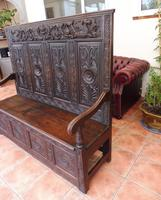 Country Oak Carved Settle Depicting Phoenix 1750 (7 of 13)
