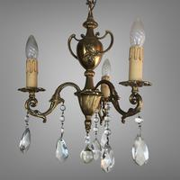 Gilt Bronze Chandelier 3 Arm Ceiling Light with Crystal Droplets (6 of 8)