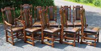 1960's Oak Dining Suite with Refectory Table & Set 10 Chairs - 8+2 Carvers (5 of 9)
