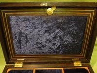 Inlaid Unisex Rosewood Jewellery Box + Tray. c1835 (4 of 12)