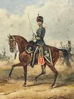 Military Watercolour Prince of Wales Own 10th Royal Hussars Guard on Horseback by Henry Martens c.1850 (5 of 53)