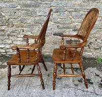 Pair of Antique Broad Arm Windsor Chairs (2 of 28)
