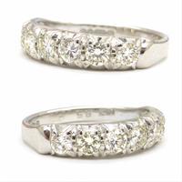 Vintage 18ct White Gold Seven Stone Diamond Half Eternity Wedding Band 0.85ct (4 of 9)