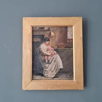 Antique Painting of Mother & Child