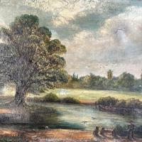 Antique English River Landscape Oil Painting After Constable Signed R Watts 1843 (4 of 10)