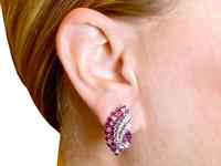 1.86ct Ruby & 0.55ct Diamond, 12ct White Gold Earrings c.1930 (9 of 9)
