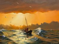 """Seascape Oil Painting """"St Ives Fishing Boat"""" Off Cornwall Coast by Keith English (17 of 36)"""