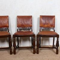 4 Carved Oak Leather Dining Chairs (4 of 12)