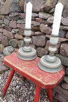 Pair of Swedish 'Folk Art' Large Over-sized Wooden Painted Candlesticks 20th Century (12 of 17)