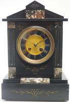 Antique French Slate & Marble Mantel Clock 8 Day Striking Mantle Clock (10 of 10)