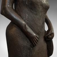 Antique Female Statue, African, Ebony, Hand Carved, Tribal Figure c.1900 (2 of 11)