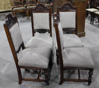 1920s Set of 4 Dark Walnut Highback Chairs in Grey (3 of 4)